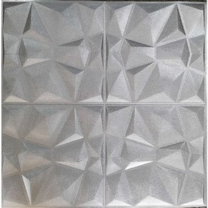 Dundee Deco Falkirk Jura II Peel and Stick 3D Wall Panel - Diamonds - 28-in x 28-in - Silver Grey - 10-Pack