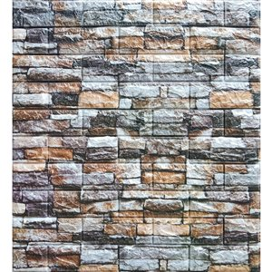 Dundee Deco Falkirk Jura II Peel and Stick 3D Wall Panel - Faux Bricks/Stones - 28-in x 28-in - Multicoloured - 10-Pack