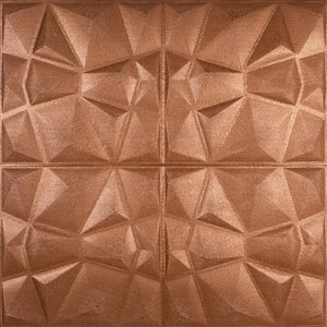 Dundee Deco Falkirk Jura II Peel and Stick 3D Wall Panel - Diamonds - 28-in x 28-in - Copper Bronze - 5-Pack