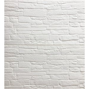 Dundee Deco Falkirk Jura II Peel and Stick 3D Wall Panel - Faux Bricks - 28-in x 28-in - Cream and Off-White - 10-Pack