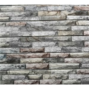 Dundee Deco Falkirk Jura II Peel and Stick 3D Wall Panel - Faux Stones - 28-in x 28-in - Grey, Beige and Red - 10-Pack