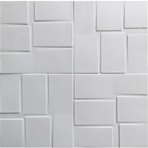 Dundee Deco Falkirk Jura II Peel and Stick 3D Wall Panel - Rectangles - 28-in x 28-in - Off-White - 10-Pack