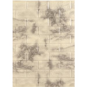 Dundee Deco Falkirk Jura II Peel and Stick 3D Wall Panel - Faux Marble Bricks - 28-in x 30-in - Yellow/Charcoal - 5-Pack