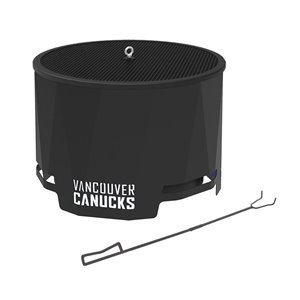 Blue Sky NHL Vancouver Canucks Patio Wood-Burning Fire Pit - Round - Steel - 24-in x 16-in - Black