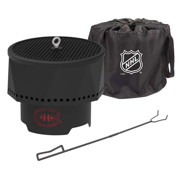Blue Sky NHL Montreal Canadiens Patio Portable Fire Pit - Round - Steel - 16-in x 12.5-in - Black