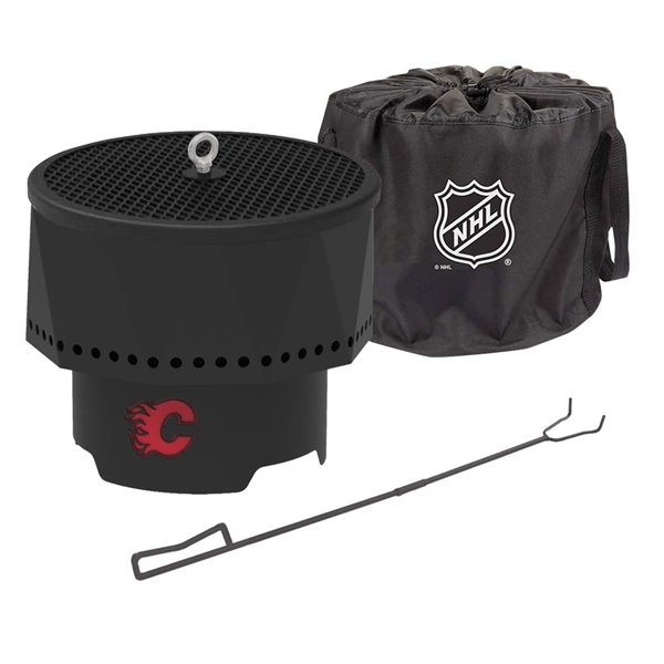 Blue Sky NHL Calgary Flames Patio Portable Fire Pit - Round - Steel - 16-in x 12.5-in - Black