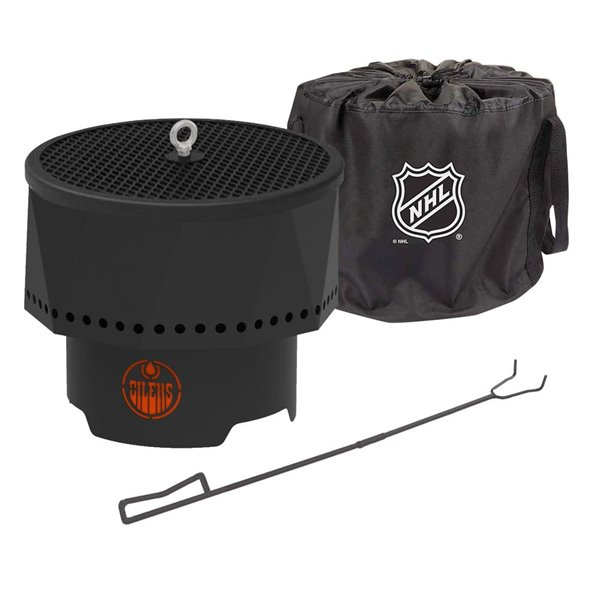 Blue Sky NHL Edmonton Oilers Patio Portable Fire Pit - Round - Steel - 16-in x 12.5-in - Black