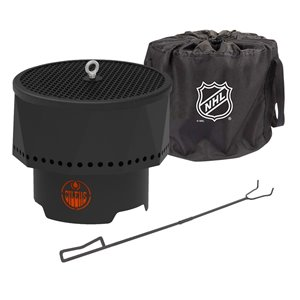 Blue Sky NHL Edmonton Oilers Patio Portable Fire Pit - Round - Steel - 16-in x 12.5-in - Black