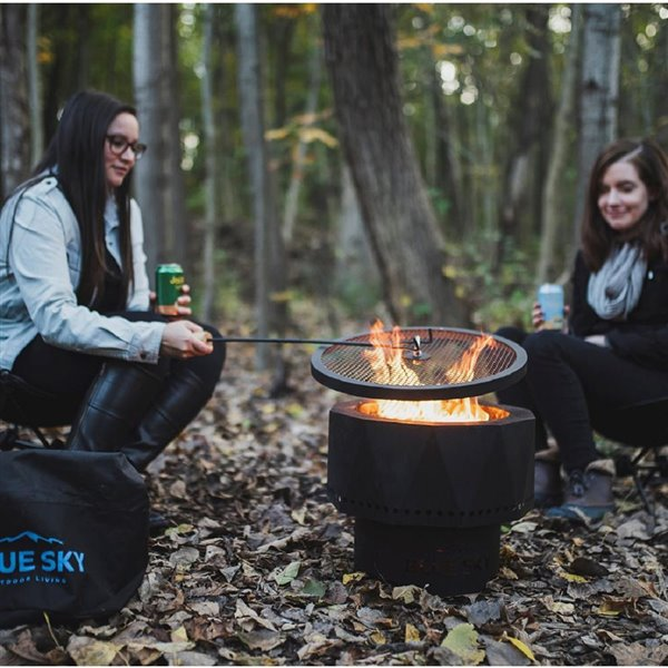 Blue Sky Patio Portable Fire Pit - Round - Steel - 16-in x 12.5-in - Black - Spark Screen, Lift and Carrying Bag