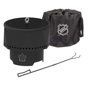 Foyer portable extérieur LNH des Maple Leafs de Toronto de Blue Sky, rond, en acier, 16 po x 12,5 po, noir