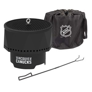 Blue Sky NHL Vancouver Canucks Patio Portable Fire Pit - Round - Steel - 16-in x 12.5-in - Black