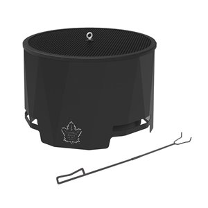 Blue Sky NHL Toronto Maple Leafs Patio Wood-Burning Fire Pit - Round - Steel - 24-in x 16-in - Black