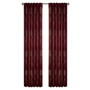 North Home Rolea Single Curtain Panel - Rod Pocket - 96-in - Burgundy