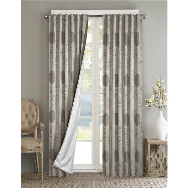 Panneau de rideau simple passe-pôle Rolea par North Home, 96 po, gris argenté