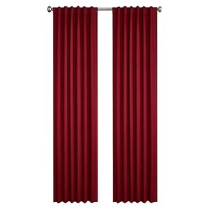 North Home Princeton Single Curtain Panel - Rod Pocket - 96-in - Burgundy