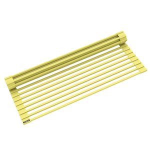 Kraus Multipurpose Workstation Sink Roll-Up Dish Drying Rack - Coated Wire - 17-in x 12-in - Yellow