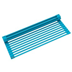 Kraus Multipurpose Workstation Sink Roll-Up Dish Drying Rack - Coated Wire - 17-in x 12-in - Aqua