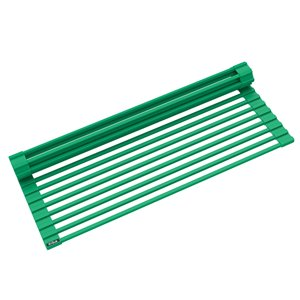 Kraus Multipurpose Workstation Sink Roll-Up Dish Drying Rack - Coated Wire - 17-in x 12-in - Green