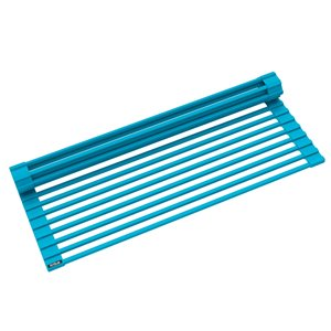 Kraus Multipurpose Over-Sink Roll-Up Dish Drying Rack - Coated Wire - 20.5-in x 13-in - Aqua
