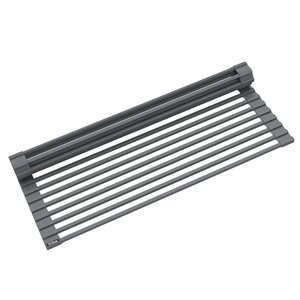 Kraus Multipurpose Workstation Sink Roll-Up Dish Drying Rack - Coated Wire - 17-in x 12-in - Dark Grey