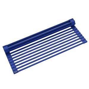 Kraus Multipurpose Over-Sink Roll-Up Dish Drying Rack - Coated Wire - 20.5-in x 13-in - Dark Blue