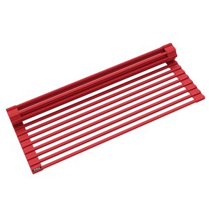 Kraus Multipurpose Over-Sink Roll-Up Dish Drying Rack - Coated Wire - 20.5-in x 13-in - Red