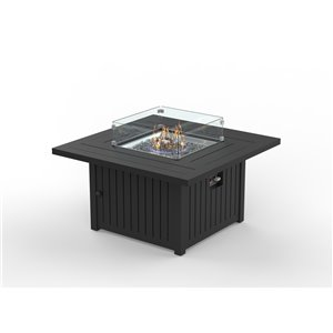 FlameHaus Blaze Propane Gas Fire Table - 55,000-BTU - 42-in - Black Aluminum