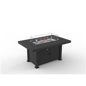FlameHaus Blaze Propane Gas Fire Table - 55,000-BTU - 52-in - Black Aluminum