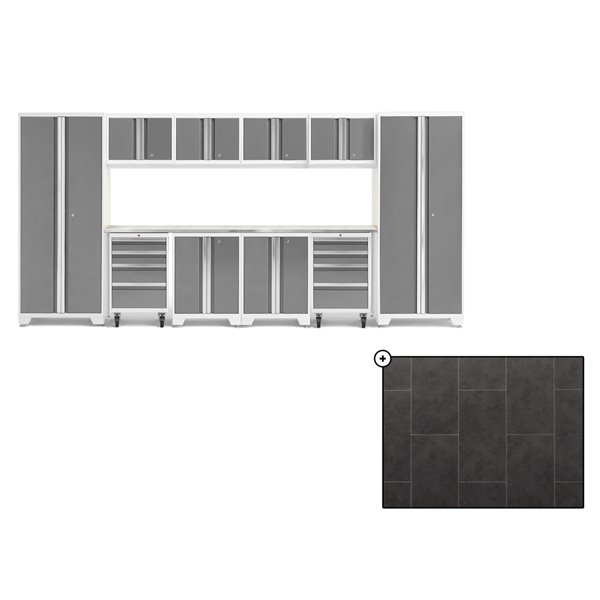 Ensemble d'armoires en acier Série Bold de NewAge, 156 po x 76,75 po, 800 pi², surface en acier inoxydable, platine, 12 mcx