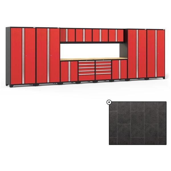 Ensemble d'armoires en acier Série Pro de NewAge, 256 po x 84,75 po, 800 pi², surface en bambou, rouge foncé, 14 mcx