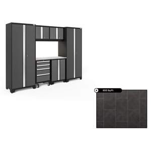 NewAge Bold Series 108-in x 76.75-in Charcoal Gray Steel Cabinet Set - Stainless Steel Work Surface - 600-sq. ft. - 7-Piece