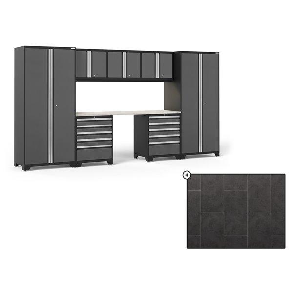 Ensemble d'armoires en acier Série Pro de NewAge, 156 po x 84,75 po, 600 pi², surface en acier inoxydable, gris, 8 mcx
