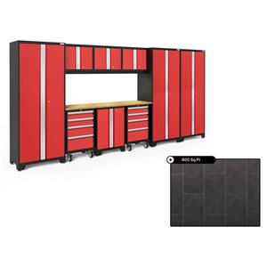 Ensemble d'armoires en acier Série Bold de NewAge, 162 po x 76,75 po, 800 pi², surface en bambou, rouge foncé, 10 mcx