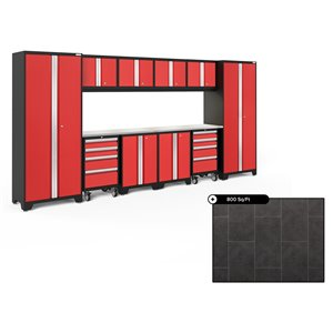 NewAge Bold Series 156-in x 76.75-in Deep Red Steel Cabinet Set - Stainless Steel Work Surface - 800-sq. ft. - 12-Piece