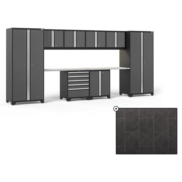 Ensemble d'armoires en acier Série Pro de NewAge, 184 po x 84,75 po, 800 pi², surface en acier inoxydable, gris, 10 mcx