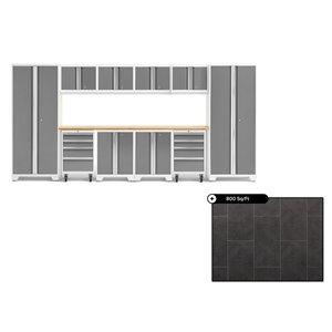 Ensemble d'armoires en acier Série Bold de NewAge, 156 po x 76,75 po, 800 pi², surface en bambou, platine, 12 mcx