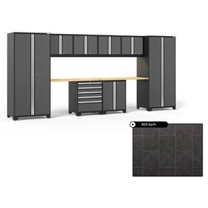 Ensemble d'armoires en acier Série Pro de NewAge, 184 po x 84,75 po, 800 pi², surface en bambou, gris anthracite, 10 mcx