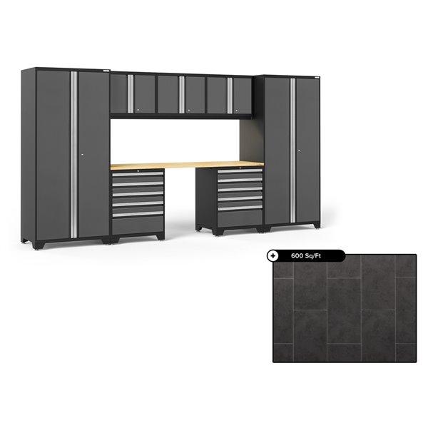 Ensemble d'armoires en acier Série Pro de NewAge, 156 po x 84,75 po, 600 pi², surface en bambou, gris anthracite, 8 mcx