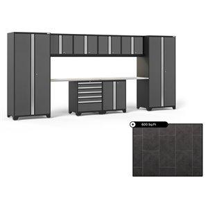 Ensemble d'armoires en acier Série Pro de NewAge, 184 po x 84,75 po, 600 pi², surface en acier inoxydable, gris, 10 mcx