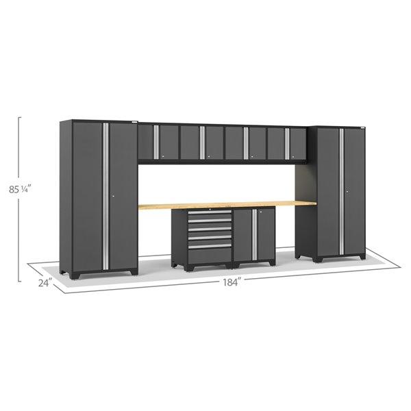 Ensemble d'armoires en acier Série Pro de NewAge, 184 po x 84,75 po, 600 pi², surface en bambou, gris anthracite, 10 mcx