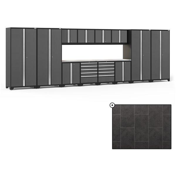 Ensemble d'armoires en acier Série Pro de NewAge, 256 po x 84,75 po, 800 pi², surface en acier inoxydable, gris, 14 mcx