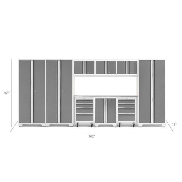 Ensemble d'armoires en acier Série Bold de NewAge, 162 po x 76,75 po, 600 pi², surface en acier inoxydable, platine, 10 mcx