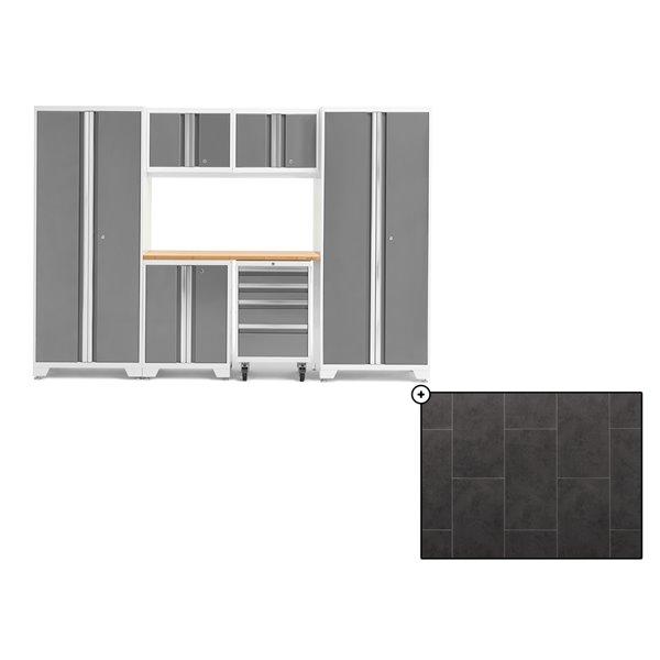 Ensemble d'armoires en acier Série Bold de NewAge, 108 po x 76,75 po, 600 pi², surface en bambou, platine, 7 mcx