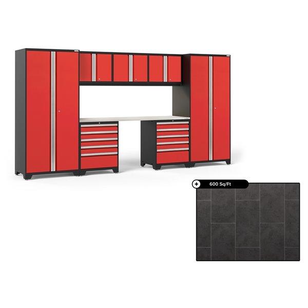 Ensemble d'armoires en acier Série Pro de NewAge, 156 po x 84,75 po, 600 pi², surface en acier inoxydable, rouge foncé, 8 mcx