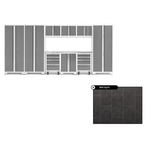 Ensemble d'armoires en acier Série Bold de NewAge, 162 po x 76,75 po, 800 pi², surface en acier inoxydable, platine, 10 mcx