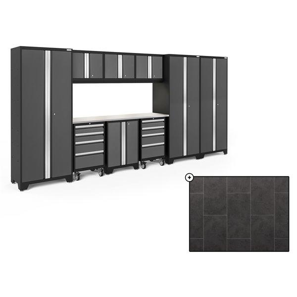 Ensemble d'armoires en acier Série Bold de NewAge, 162 po x 76,75 po, 800 pi², surface en acier inoxydable, gris, 10 mcx