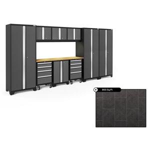 Ensemble d'armoires en acier Série Bold de NewAge, 162 po x 76,75 po, 800 pi², surface en bambou, gris anthracite, 10 mcx
