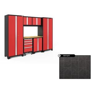 Ensemble d'armoires en acier Série Bold de NewAge, 108 po x 76,75 po, 600 pi², surface en bambou, rouge foncé, 7 mcx
