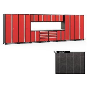 Ensemble d'armoires en acier Série Pro de NewAge, 256 po x 84,75 po, 800 pi², surface en acier inoxydable, rouge foncé, 14 mc