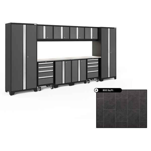 Ensemble d'armoires en acier Série Bold de NewAge, 156 po x 76,75 po, 800 pi², surface en acier inoxydable, gris, 12 mcx
